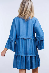 Flounce Denim Dress
