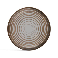 Cream Circles Glass Valet Tray - Wooden Rim - Round - L