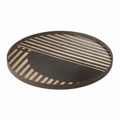 Asymmetric Dot Wooden Round Tray