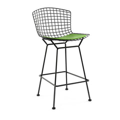Bertoia Stool with Seat Pad bar seating Knoll Black Counter Height Lime Vinyl