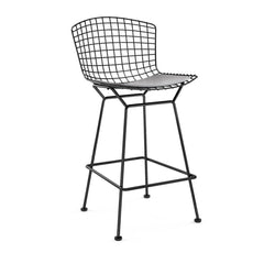 Bertoia Stool with Seat Pad bar seating Knoll Black Counter Height Fog Vinyl