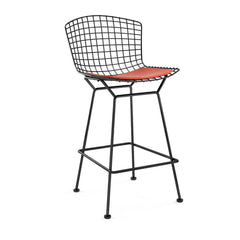 Bertoia Stool with Seat Pad bar seating Knoll Black Counter Height Carrot Vinyl