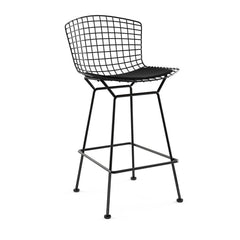 Bertoia Stool with Seat Pad bar seating Knoll Black Counter Height Black Onyx Ultrasuede