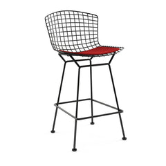 Bertoia Stool with Seat Pad bar seating Knoll Black Counter Height Red Ultrasuede