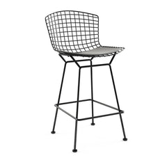 Bertoia Stool with Seat Pad bar seating Knoll Black Counter Height Silver Ultrasuede