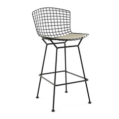 Bertoia Stool with Seat Pad bar seating Knoll Black Bar Height Neutral Classic Boucle