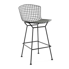 Bertoia Stool with Seat Pad bar seating Knoll Black Bar Height Smoke Classic Boucle