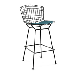 Bertoia Stool with Seat Pad bar seating Knoll Black Bar Height Aegean Classic Boucle
