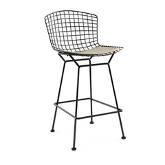 Bertoia Stool with Seat Pad bar seating Knoll Black Counter Height Neutral Classic Boucle