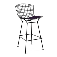 Bertoia Stool with Seat Pad bar seating Knoll Black Bar Height Black Iris Classic Boucle