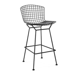 Bertoia Stool with Seat Pad bar seating Knoll Black Bar Height Black Vinyl