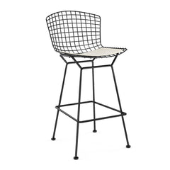 Bertoia Stool with Seat Pad bar seating Knoll Black Bar Height White Vinyl