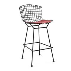 Bertoia Stool with Seat Pad bar seating Knoll Black Bar Height Red Vinyl