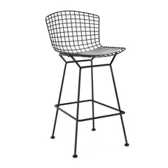 Bertoia Stool with Seat Pad bar seating Knoll Black Bar Height Fog Vinyl