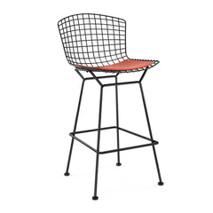 Bertoia Stool with Seat Pad bar seating Knoll Black Bar Height Carrot Vinyl