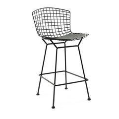 Bertoia Stool with Seat Pad bar seating Knoll Black Counter Height Smoke Classic Boucle