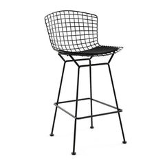 Bertoia Stool with Seat Pad bar seating Knoll Black Bar Height Black Onyx Ultrasuede