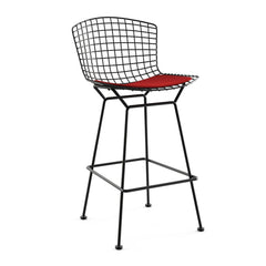 Bertoia Stool with Seat Pad bar seating Knoll Black Bar Height Red Ultrasuede