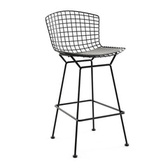 Bertoia Stool with Seat Pad bar seating Knoll Black Bar Height Silver Ultrasuede