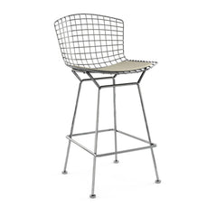 Bertoia Stool with Seat Pad bar seating Knoll Polished Chrome Counter Height Neutral Classic Boucle