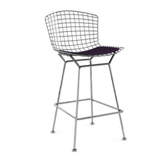 Bertoia Stool with Seat Pad bar seating Knoll Polished Chrome Counter Height Black Iris Classic Boucle