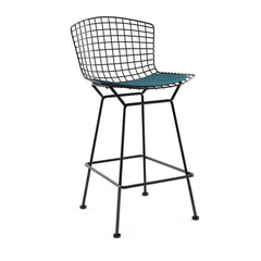 Bertoia Stool with Seat Pad bar seating Knoll Black Counter Height Aegean Classic Boucle