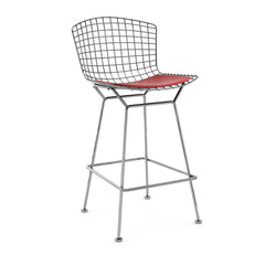 Bertoia Stool with Seat Pad bar seating Knoll Polished Chrome Counter Height Red Vinyl