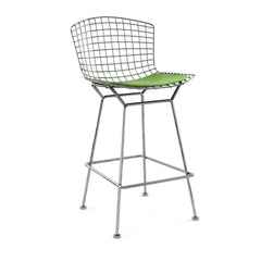 Bertoia Stool with Seat Pad bar seating Knoll Polished Chrome Counter Height Lime Vinyl