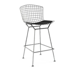 Bertoia Stool with Seat Pad bar seating Knoll Polished Chrome Counter Height Black Onyx Ultrasuede