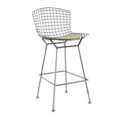 Bertoia Stool with Seat Pad bar seating Knoll Polished Chrome Bar Height Neutral Classic Boucle