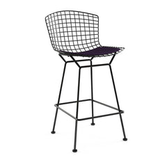 Bertoia Stool with Seat Pad bar seating Knoll Black Counter Height Black Iris Classic Boucle
