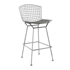 Bertoia Stool with Seat Pad bar seating Knoll Polished Chrome Bar Height Smoke Classic Boucle