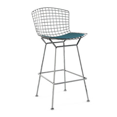 Bertoia Stool with Seat Pad bar seating Knoll Polished Chrome Bar Height Aegean Classic Boucle