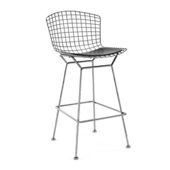 Bertoia Stool with Seat Pad bar seating Knoll Polished Chrome Bar Height Black Vinyl
