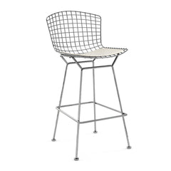 Bertoia Stool with Seat Pad bar seating Knoll Polished Chrome Bar Height White Vinyl