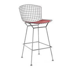 Bertoia Stool with Seat Pad bar seating Knoll Polished Chrome Bar Height Red Vinyl