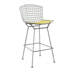 Bertoia Stool with Seat Pad bar seating Knoll Polished Chrome Bar Height Sunflower Vinyl
