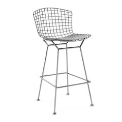 Bertoia Stool with Seat Pad bar seating Knoll Polished Chrome Bar Height Fog Vinyl