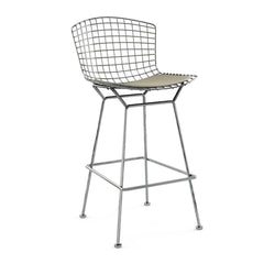 Bertoia Stool with Seat Pad bar seating Knoll Polished Chrome Bar Height Sandstone Ultrasuede
