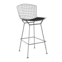 Bertoia Stool with Seat Pad bar seating Knoll Polished Chrome Bar Height Black Onyx Ultrasuede