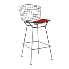 Bertoia Stool with Seat Pad bar seating Knoll Polished Chrome Bar Height Red Ultrasuede