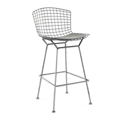 Bertoia Stool with Seat Pad bar seating Knoll Polished Chrome Bar Height Silver Ultrasuede