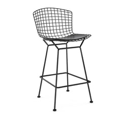 Bertoia Stool with Seat Pad bar seating Knoll Black Counter Height Black Vinyl