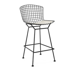 Bertoia Stool with Seat Pad bar seating Knoll Black Counter Height White Vinyl