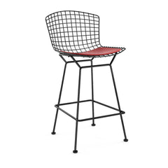 Bertoia Stool with Seat Pad bar seating Knoll Black Counter Height Red Vinyl