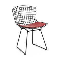 Bertoia Side Chair with Seat Pad Side/Dining Knoll Black Vinyl - Red