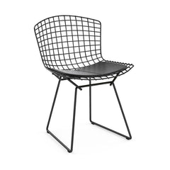 Bertoia Side Chair with Seat Pad Side/Dining Knoll Black Vinyl - Black