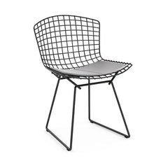 Bertoia Side Chair with Seat Pad Side/Dining Knoll Black Vinyl - Fog