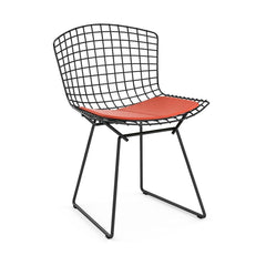 Bertoia Side Chair with Seat Pad Side/Dining Knoll Black Vinyl - Carrot