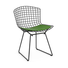 Bertoia Side Chair with Seat Pad Side/Dining Knoll Black Vinyl - Lime